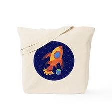 Blast Off Rocketship Tote Bag