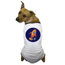 Blast Off Rocketship Dog T-Shirt