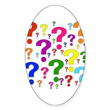 Rainbow Question Marks Oval Decal