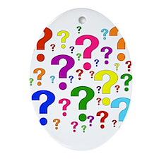 Rainbow Question Marks Oval Ornament