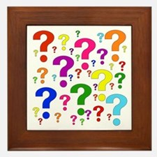 Rainbow Question Marks Framed Tile