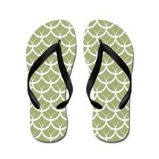 Light Green Circle Pattern Flip Flops
