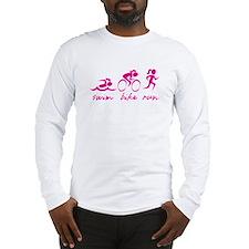 Swim Bike Run (Pink Girl) Long Sleeve T-Shirt