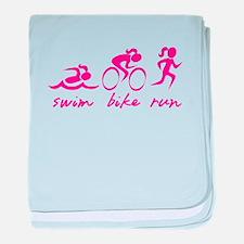Swim Bike Run (Girl) baby blanket