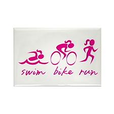 Swim Bike Run (Girl) Magnets
