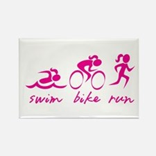 Swim Bike Run (Girl) Magnets