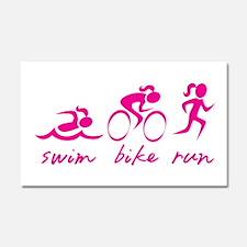 Swim Bike Run (Girl) Car Magnet 20 x 12