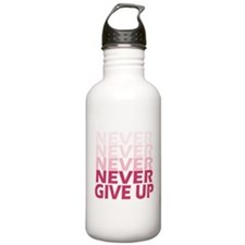 Never Give Up Pink Lig Water Bottle