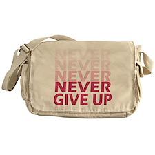 Never Give Up Pink Light Messenger Bag