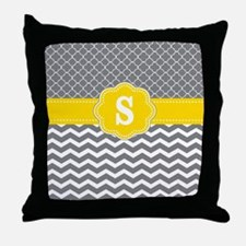 Yellow Gray Chevron Quatrefoil Monogram Throw Pill
