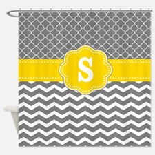 Yellow Gray Chevron Quatrefoil Monogram Shower Cur