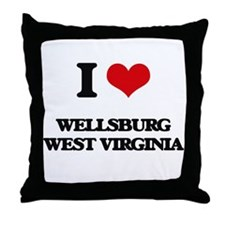 I love Wellsburg West Virginia Throw Pillow