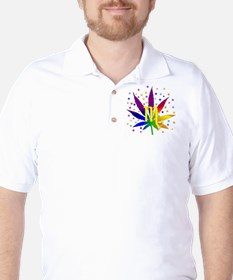Rainbow Marijuana Scorpio Golf Shirt
