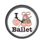 I Love Ballet Shoes Dance Pink Brown Wall Clock