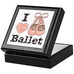I Love Ballet Shoes Dance Pink Brown Keepsake Box