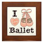 I Love Ballet Shoes Dance Pink Brown Framed Tile