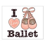 I Love Ballet Dance Shoes Pink Brown Poster