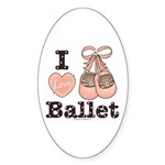 I Love Ballet Dance Shoes Pink Brown Sticker