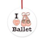 I Love Ballet Slippers Dance Pink Brown Ornament