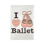 I Love Ballet Shoes Pink Brown Magnet 10 pk