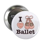 I Love Ballet Shoes Slippers Pink Brown Button