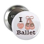 I Love Ballet Ballerina Pink Brown Button 100 pk