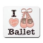 I Love Ballet Shoes Ballerina Pink Brown Mousepad