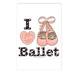 I Love Ballet Ballerina Pink Brown Postcards 8 Pk