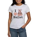 I Love Ballet Shoes Ballerina Pink Brown T-Shirt