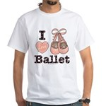 I Love Ballet Pink Brown White T-Shirt