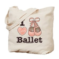 I Love Ballet Shoes Slippers Pink Brown Tote Bag
