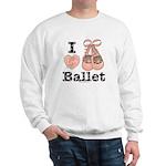 I Love Ballet Shoes Slippers Pink Brown Sweatshirt