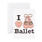 I Love Ballet Pink Brown Greeting Cards (Pk of 10)