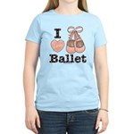I Love Ballet Slippers Pink Brown Yellow T-Shirt