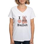 I Love Ballet Shoes Pink Brown V-Neck T-Shirt