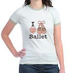 I Love Ballet Pink Brown Jr. Ringer T-Shirt