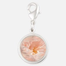 Closeup of Peach Colored Rose Silver Round Charm