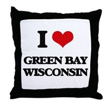 I love Green Bay Wisconsin Throw Pillow