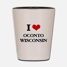 I love Oconto Wisconsin Shot Glass