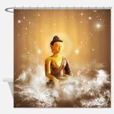 Buddha with clouds and stars Shower Curtain
