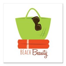 "Beach Beauty Square Car Magnet 3"" x 3"""