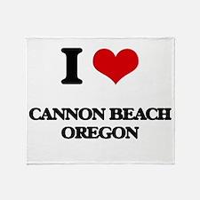 I love Cannon Beach Oregon Throw Blanket