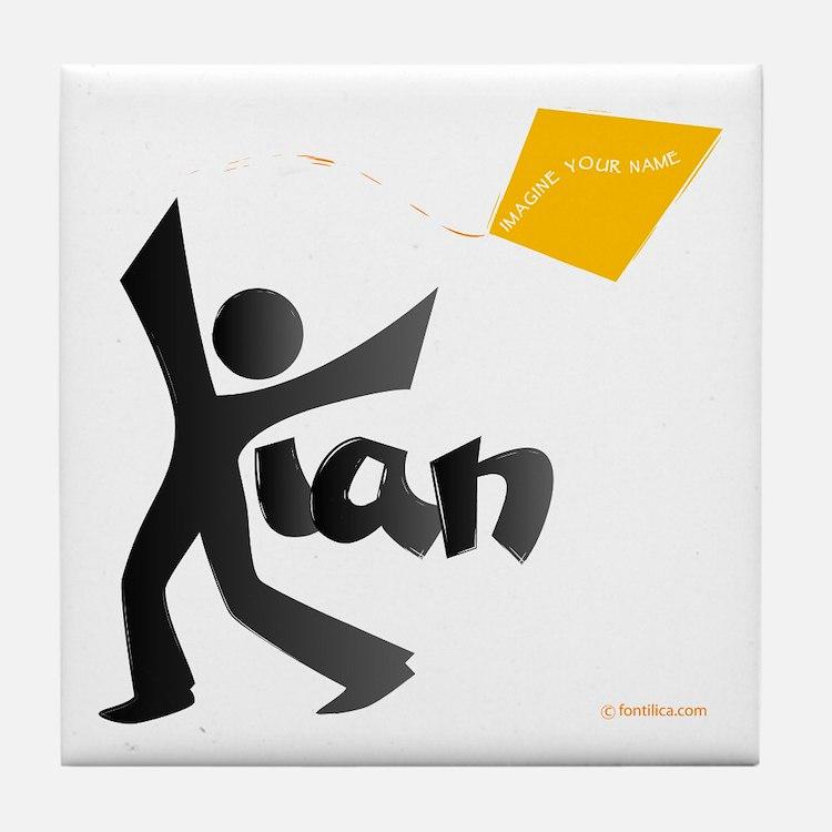 Kian Black and Orange Design Tile Coaster