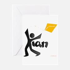 Kian Black and Orange Design Greeting Cards (Pk of