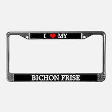 Love Bichon Frise License Plate Frame