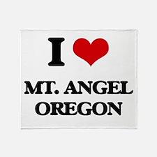 I love Mt. Angel Oregon Throw Blanket