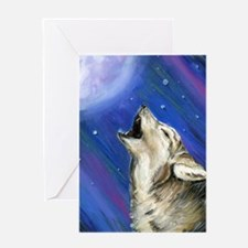 Wolf and Full Moon Greeting Card