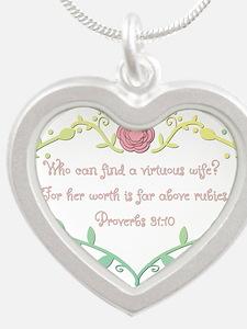 Proverbs 31: 10 - Bright Col Silver Heart Necklace