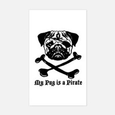 My Pug Is a Pirate Rectangle Decal
