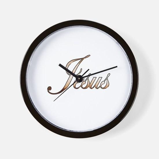 Gold Jesus Wall Clock